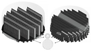 Fig. 7. Computational grids at different cuts, within orifices and the ambient domains: the pan-type system (left), and the three-in-one system (right).