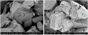 FIG. 2. Photomicrographs of conventional zeolite (left) and the MHY-zeolite technologyc (right). At similar magnifications, micropores in conventional zeolite are not viewable, while the 40-angstrom network of mesopores within the MHY-zeolite technology are viewable.