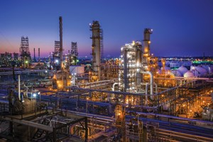 Night view of an alkylation unit at Marathon Petroleum's Galveston Bay refinery in Texas City, Texas. The company is increasing the plant's distillate production capacity and expanding its export capabilities. Photo courtesy of Marathon Petroleum.
