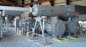 Typical Dresser-Rand® HHE-VL reciprocating compressor installation utilizing an engine-type synchronous motor similar to the configuration of the three units that will be installed at the new steam methane reformer (SMR) in Texas.