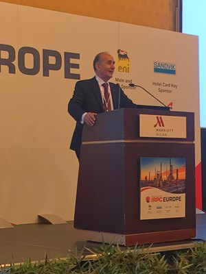 Giacomo Rispoli, Executive Vice President Portfolio Management, Eni, provided the keynote address during the opening day of Hydrocarbon Processing's International Refining and Petrochemical Conference (IRPC) Europe in Milan, Italy.