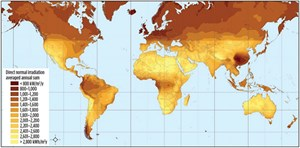 Fig. 4. Direct normal irradiation (DNI) world map (Source: DLR 2008).