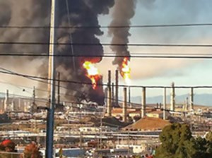 FIG. 1. Fire in the gasoil draw-off line from the crude distillation unit at the Richmond refinery in California.