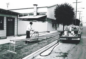Dick Melsheimer testing one of his early hydraulic drills.