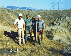 The 1971 HDD river crossing of the Pajaro River in California was accomplished by Martin Cherrington (left) and his crew.
